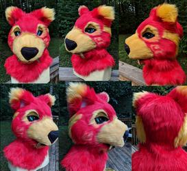 Fire Sabercat Head Turnaround by GoldenManeMascoting