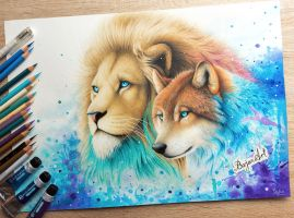 Kings - lion and wolf's drawing by Bajan-Art