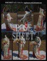 POSE SHEET 1 of 2: Geisha Fan by themuseslibrary