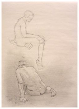 Figure Drawing - Male seated by digitaldecay