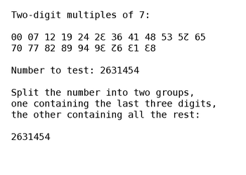 Divisibility Test for 7 (Duodecimal, Fast) by treisaran