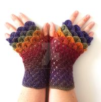 Simple Rainbow Dragon Gloves by FearlessFibreArts