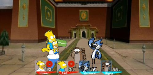 CF resquest Homer and Bart vs. Mordecai and Rigby by SuperMaster10