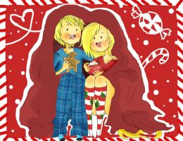 .::Finn and Fionna's Cozy Christmas Cuddle Time::. by SlimeBaby