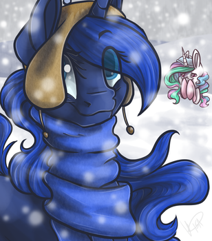 Luna and Her Long Scarf by EbonyTails