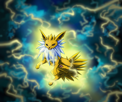 Into the Lightning Storm - Jolteon Eevee contest by SKproductionsArt