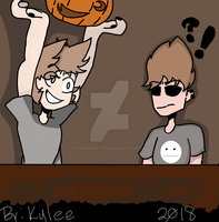 Tom and Tord carving pumpkins by SpunkySparkytheSnake