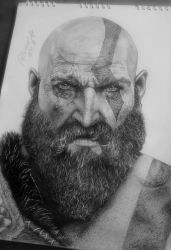 God Of War | Kratos drawing by FreeError