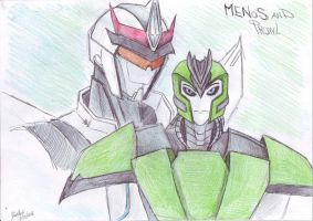 Menos and Prowl (TFP) by DarkAudi1728