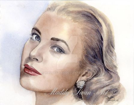 Grace Kelly - watercolour portrait by MaddySwan