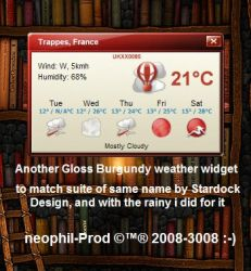 Gloss Burgundy Weather Widget by neophil