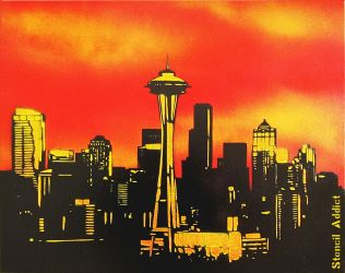 Seattle Sunset by StencilAddict