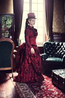 Myna dark red victorian corseted bustle gown 3 by AtelierSylpheCorsets