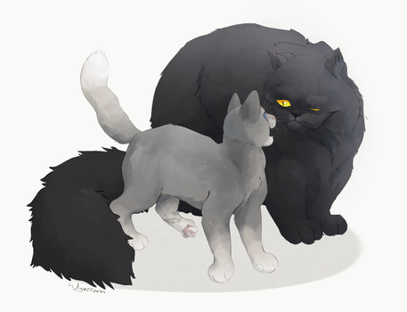 Yellowfang and Cinderpaw by Wyveram