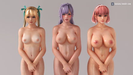 3 Girls Standing posture test by xuniana