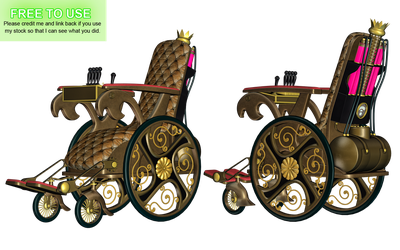 Steampunk Wheelchair PNG Stock by Roy3D