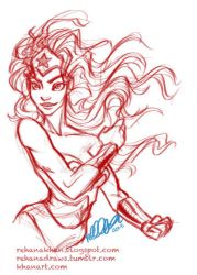 10 min sketch of the day: Wonder Woman by RehanaKn