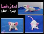 Needle felted White Mouse by HandsterButtonz
