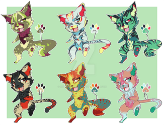 Cat Party! -adoptables- -fixed price- -6/6 OPEN- by howmuchcanyoutake