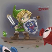 Link vs. Octorok by winuy