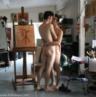Naked boys kissing in the studio  2 by TheMaleNudeStock