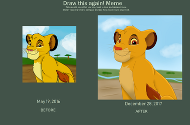 Young Simba_Redraw_Before and After by SolitaryGrayWolf
