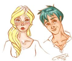 Victoire and Teddy Sketchyness by Tr1nks1e