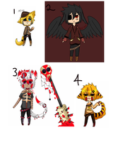Selling ocs 3 {Points - OPEN} by Blood-Raven-Adopts