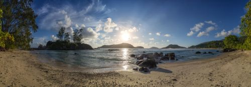 Seychelles, Mahe, beach at sunset by fly10