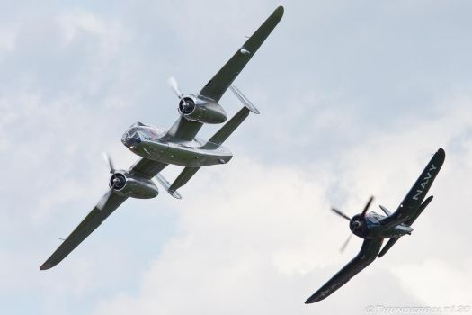 B-25J and F4U by Thunderbolt120