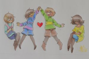 Chisk, Frisk, Chara and Frara by MillyTheCat
