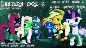 (DL) Lantern Mane 6 with Trixie and Derpy by Out-Buck-Pony
