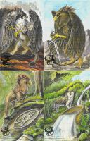 Gryphon Tarot: Aces by silvermoonnw