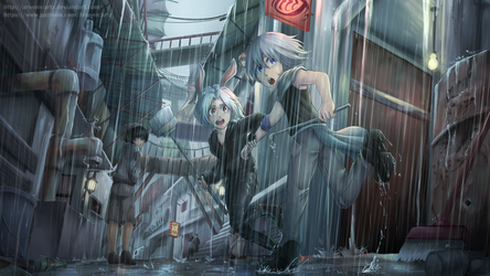 Commission- Rain of Beacon Alley by ARSONicARTZ