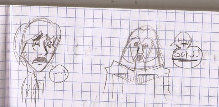 Luke and Vader Doodle by RaccooninaSuit