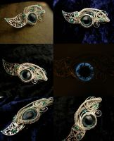 Gothic Fantasy - Dragon Eye Barrette Teal Silver by LadyPirotessa