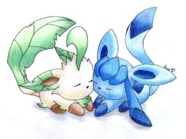 Leafeon and Glaceon Love by Togechu