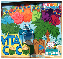 Kawaii Universe - Vita Coco Spray Paint Mural by KawaiiUniverseStudio