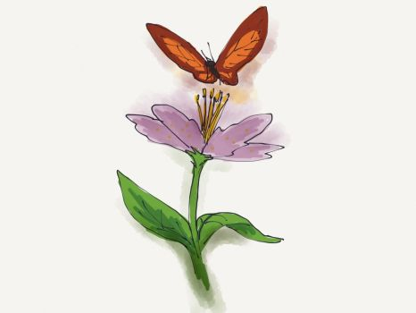 Flower and Butterfly by tharal2814