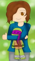 Art Trade: Mariela con un peluche de Donnie by spoinge