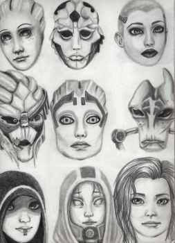 Mass Effect Sketches by LadyWinter