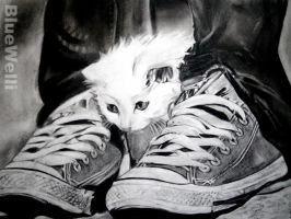 Cat Between Shoes by BlueWelli
