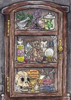 Curiousity Cabinet ATC Witch cabinet by emmadreamstar