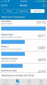iPhone 8 Multicore Benchmark score (GeekBench 4) by MacThePlaneh