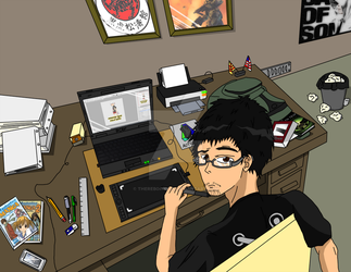 A Gamer, Artist, and Student At Work (dA ID 2014) by TheRebornAce