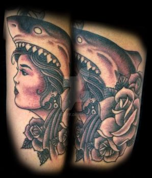 shark gypsy tattoo by All-Wolff