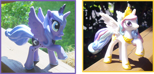 My Little Pony Celestia and Luna Customs by kaizerin