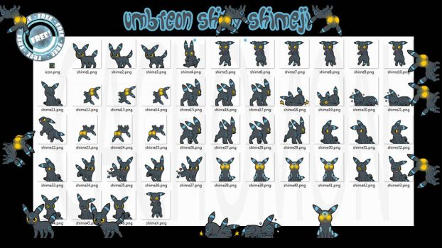 Umbreon Shiny Shimeji +FREE+ by Cachomon