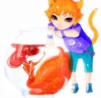 cat and fish by RiraR