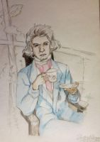 Beethoven taking a cup of coffee  by Rossi-Rosedeni
